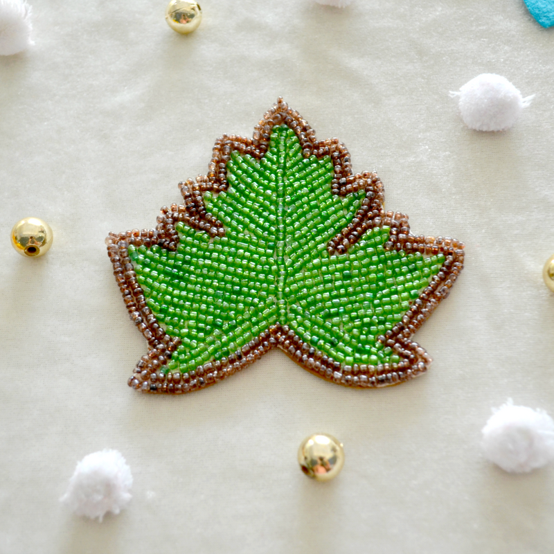 Handmade Beaded Leaf Coasters (Pack of 2)