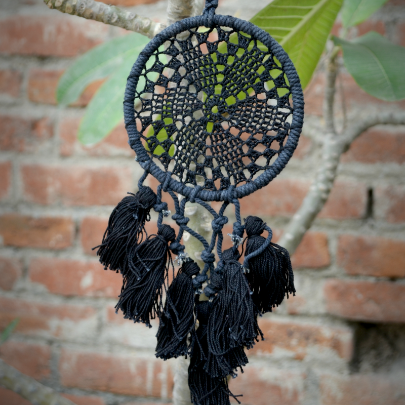 Handmade Crochet Dream Catcher - Black