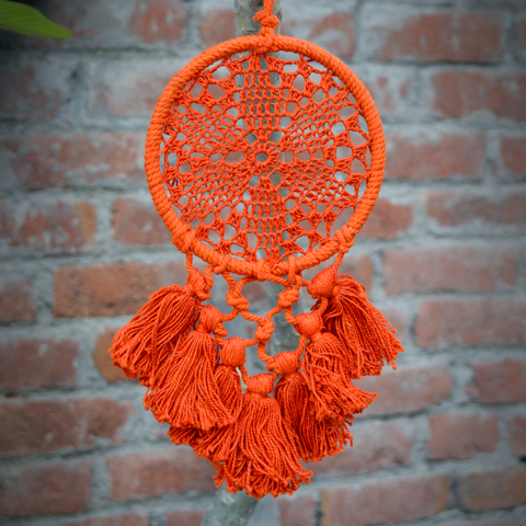 Handmade Crochet Dream Catcher - Orange