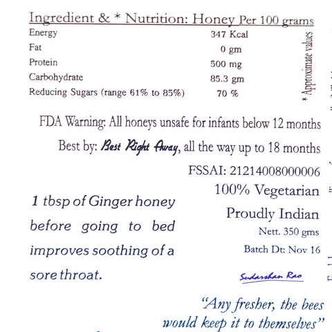 Unprocessed Infused Ginger Honey