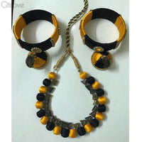 Silk Thread Necklace Earring And Bangle Set (Black & Yellow)