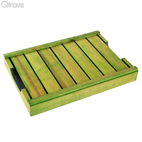 Hand Painted Wooden Green and Blue Serving Tray