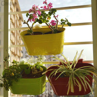 Vibrant Red Yellow And Green Oval Railing Planters (Set of 3)