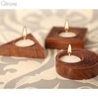 Wooden Engraved Tealight Holder (Set of 3)