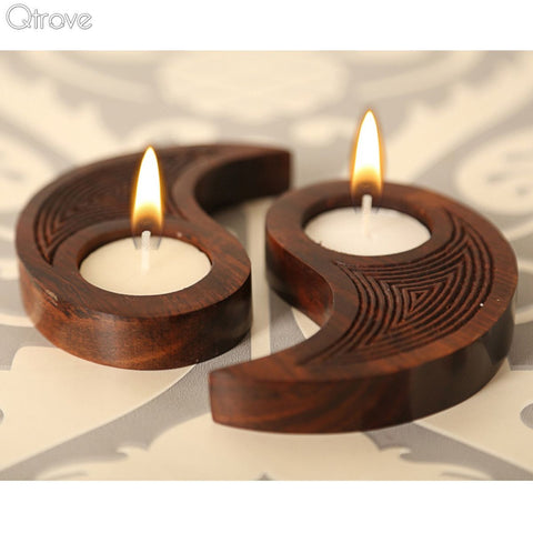 Wooden Engraved Tealight Holder Chinese Ying Yang Design