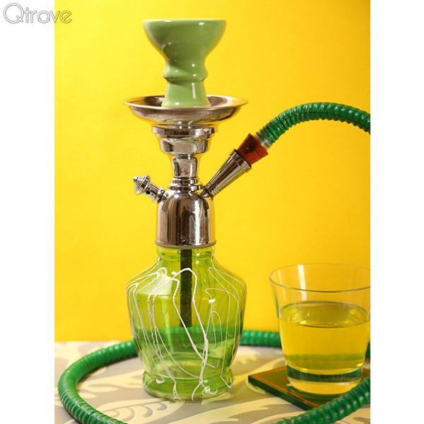 Handcrafted Glorious Green Hookah (12 Inch) at Qtrove