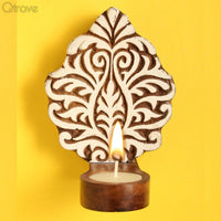 Wooden Engraved Artistic Table Cum Wall Tealight Holder