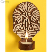 Wooden Engraved Traditional Lotus Table Cum Wall Tealight