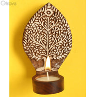 Wooden Engraved Beautiful Tree Table Cum Wall Tealight