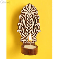 Wooden Engraved Floral Table Cum Wall Tealight Holder