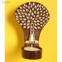Wooden Engraved Tree Table Cum Wall Tealight Holder