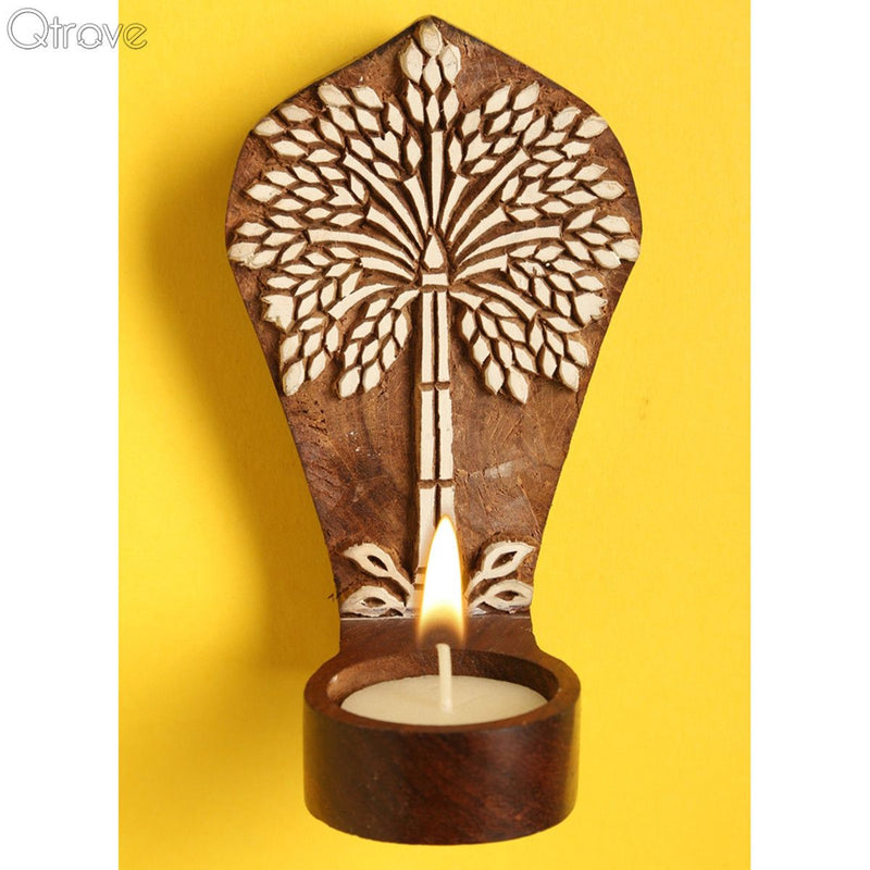 Wooden Engraved Palm Tree Table Cum Wall Tealight Holder