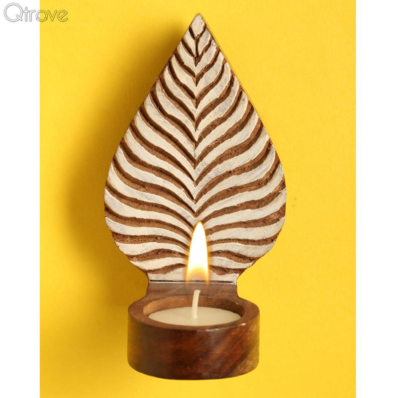 Engraved Leafy Table Cum Wall Tealight Holder