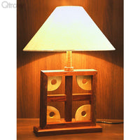 Wooden Artistic Square Table Lamp In Wood