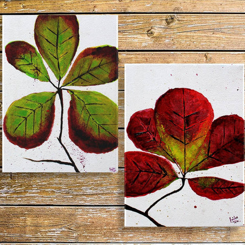Indian Almond Tree Painting (Set of 2, Unframed)