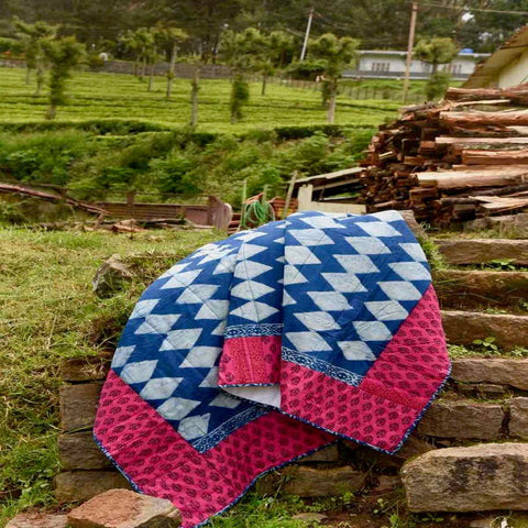 Indigo Chevron - 100% Cotton Handmade Patchwork Quilt From India