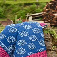 Indigo Floral - 100% Cotton Handmade Patchwork Quilt From India