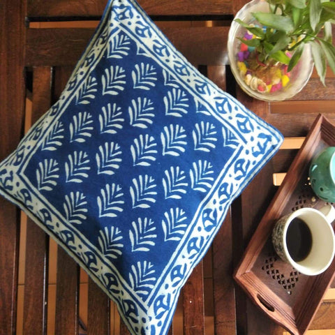 Indigo Colour Small Butta Hand Block Printed With Natural Colour Cotton Cushion Cover (Single)