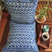 Indigo Colour Jaal Print Hand Block Printed With Natural Dye Cotton Cushion Cover (Single) 16x16 Inc