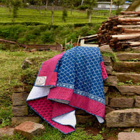 Indigo Scalap -100% Cotton Handmade Patchwork Quilt From India