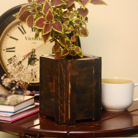 Indoor Handmade Wooden Planter (Brown)