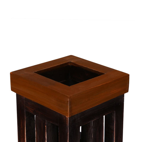 Indoor Tall Vintage Dark Brown Handmade Wooden Pot