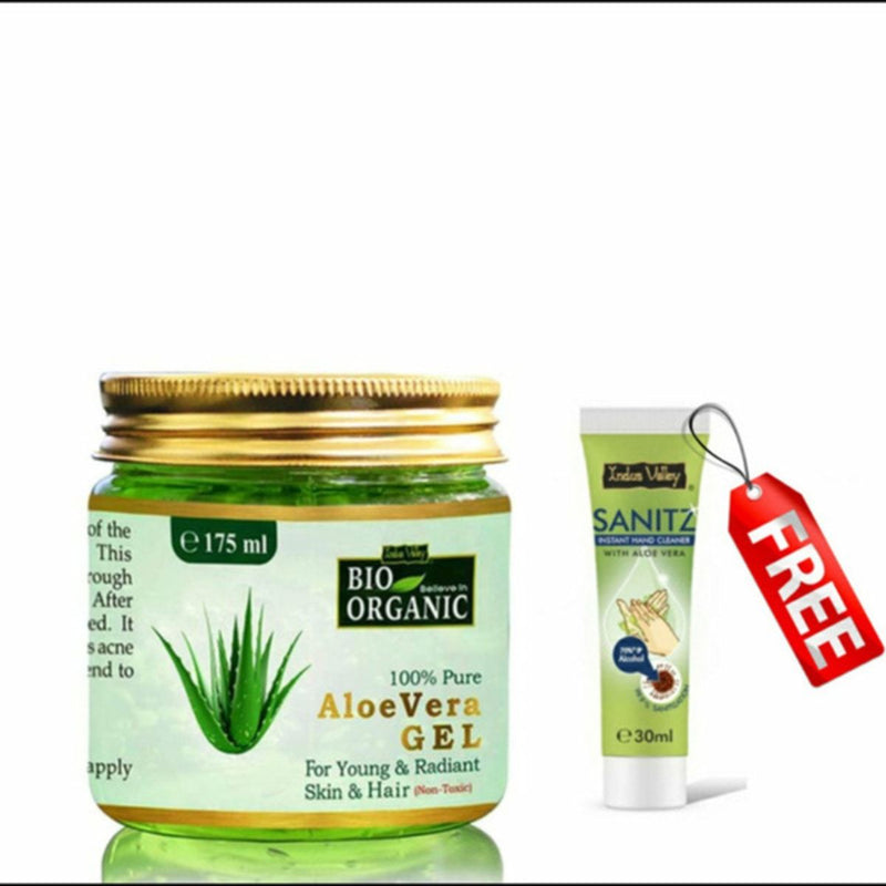 Aloe Vera Gel - For Hair and Skin(175 ml and Free Hand Sanitizer 30 ml)