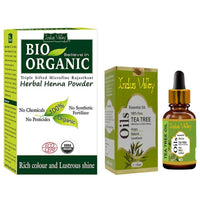 Bio Organic Herbal Henna Powder & Tea Tree Essential Oil For Hair & Skin Combo Pack