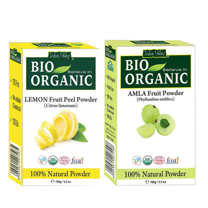 Bio Organic Amla & Lemon Peel Powder For Hair & Skin Combo Pack