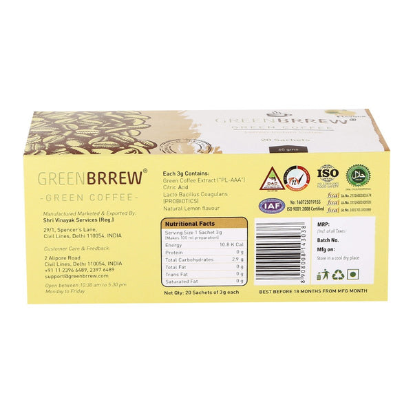 Lemon Instant Green Coffee (20'sachets)( Weight Loss) – Qtrove