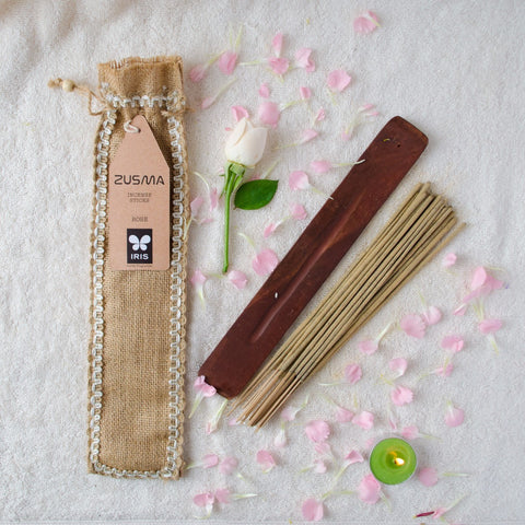 Rose Incense Sticks With Ash Catcher