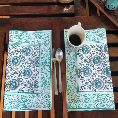 Jaal Design Hand Block Printed With Natural Dye Cotton Canvas Table Mat (6 Pieces)