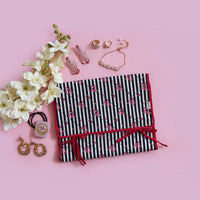 Jewellery Oganiser (Foldable) – Black Stripes Pink Floral