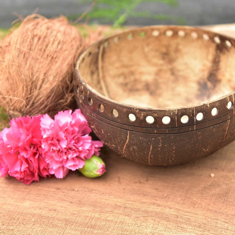Eco Friendly Jumbo Coconut Bowl (Crafted Design)(Made From Original Coconut Shells)