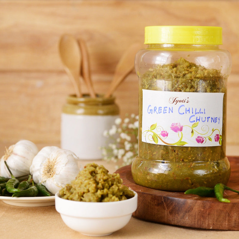 Homemade Green Chilli Garlic Chutney