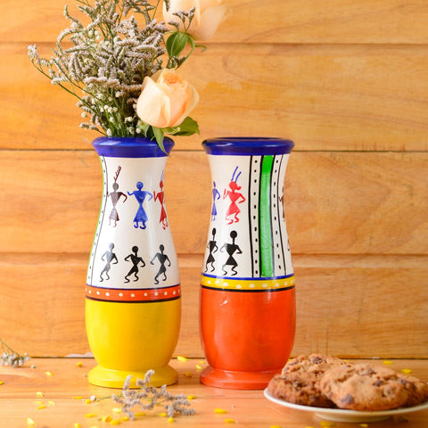 Handmade Warli Wooden Vase (Set of 2)