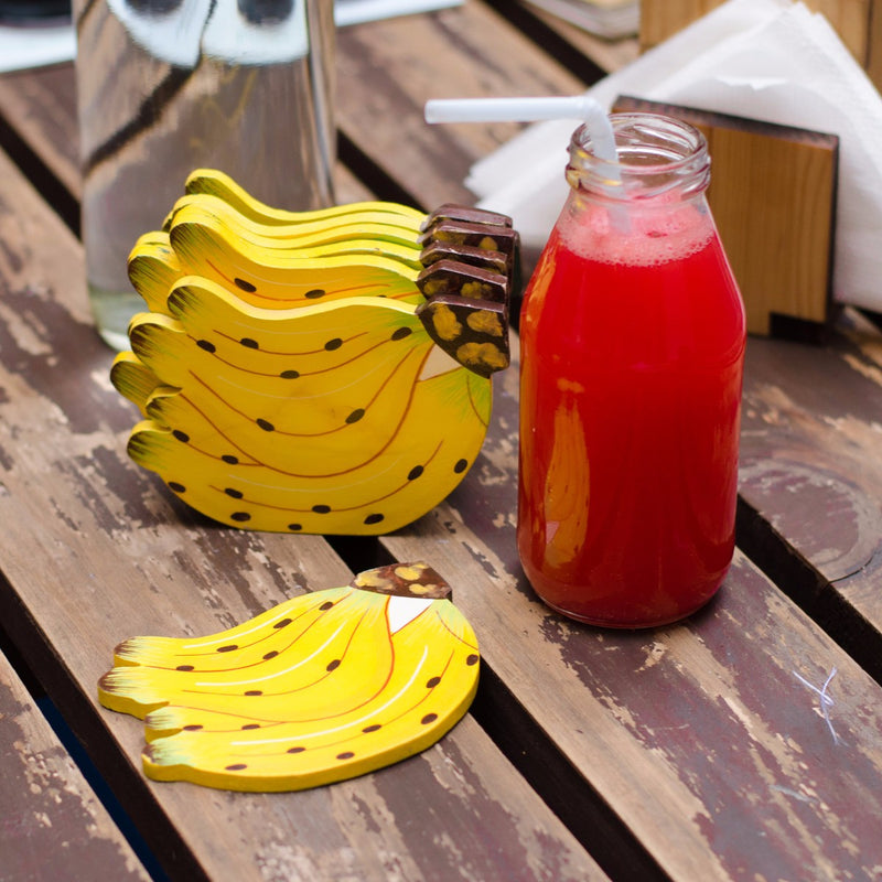 Banana Shaped Tea Coasters (Set of 6)