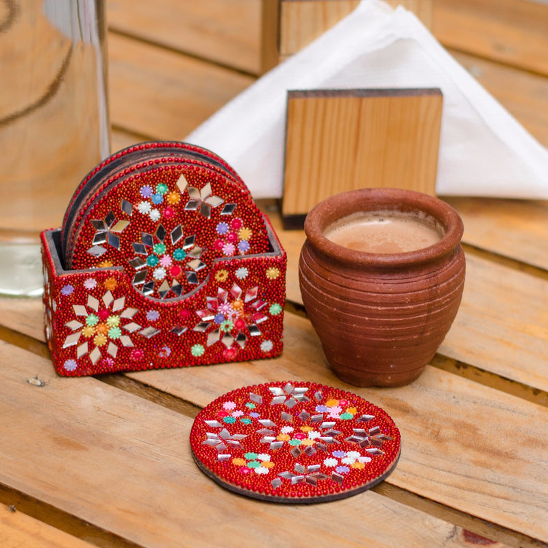 Lac Tea Coasters - Red (Set of 6)