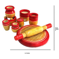 Eco-Friendly Red Wooden Toy Kitchen Set