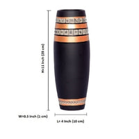 Kalaplanet Terracotta Black with Golden Vase - 11 Inches