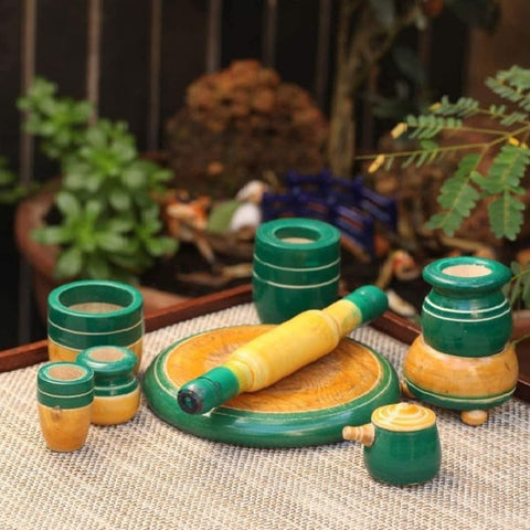 Eco-Friendly Green Wooden Toy Kitchen Set