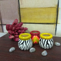 Wooden Multicolored Decorative Pots (Set of 3)