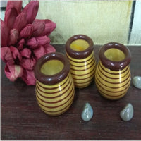 Wooden Yellow Decorative Pots (Set of 3)