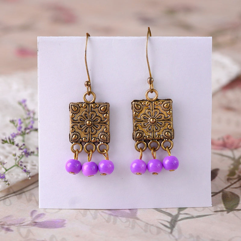 Antique Handcrafted Gold Plate Earring With Purple Drops