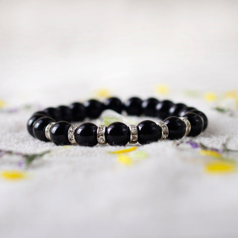Handcrafted Bead Bracelet In Black
