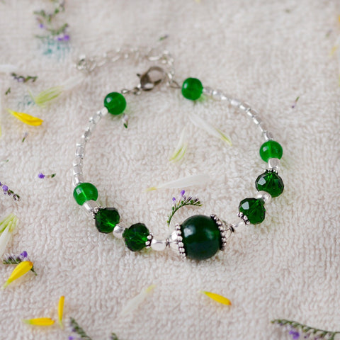 Handcrafted Green Bead Bangle Style Bracelet