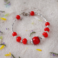 Handcrafted Red Bead Bangle Style Bracelet