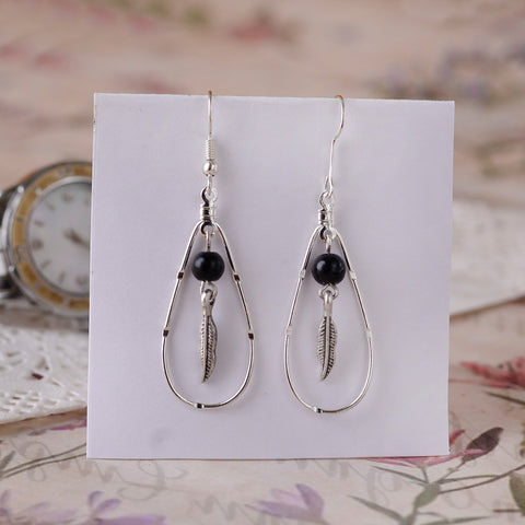 Handcrafted Drop Earring With Leaf Dangels