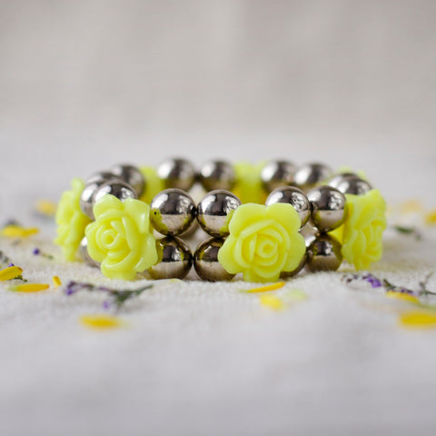 Handcrafted Two Line Rose Bracelet