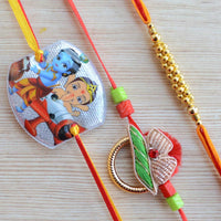 Thread Rakhi - Ganesha and Krishna Rakhi (Orange, Yellow and Gold)(Set of 3)